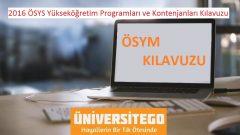 2016 ÖSYS Yükseköğretim Programları ve Kontenjanları Kılavuzu