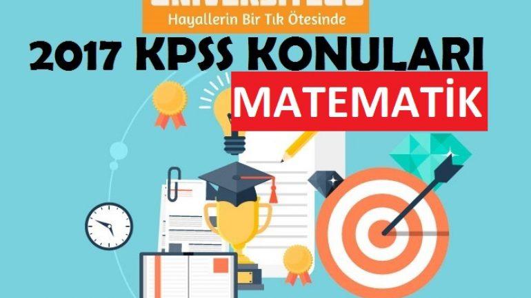 2017 KPSS Lisans Matematik Konuları