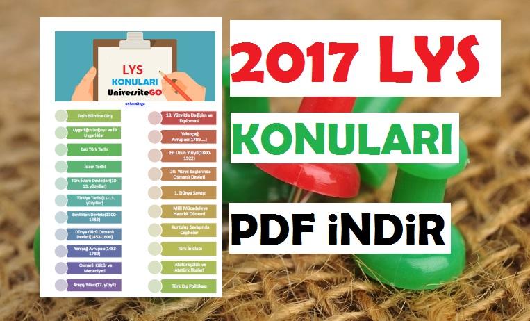 2017 LYS Konuları PDF indir