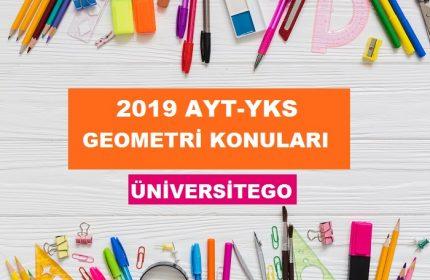 2019 YKS AYT Geometri Konuları ve Soru Dağılımı (ÖSYM-YÖK)